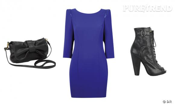 Sac noeud Accessorize (29€), Robe Dorothy Perkins (44€), boots Givenchy sur net-à-porter.com (920€)