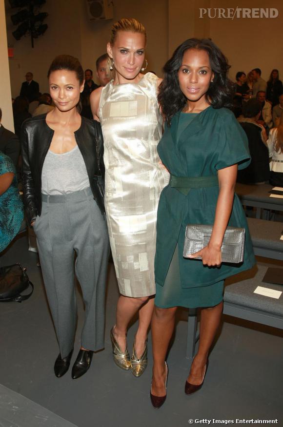 Thandie Newton ,  Molly Sims  et  Kerry Washington  au défilé  Calvin Klein .