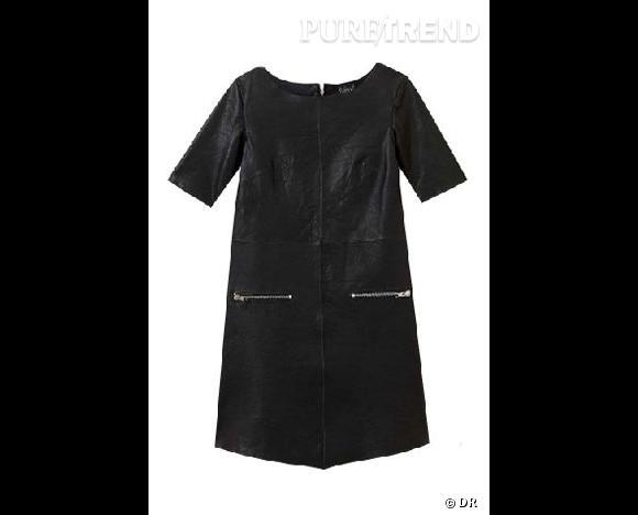 Robe cuir manches courtes