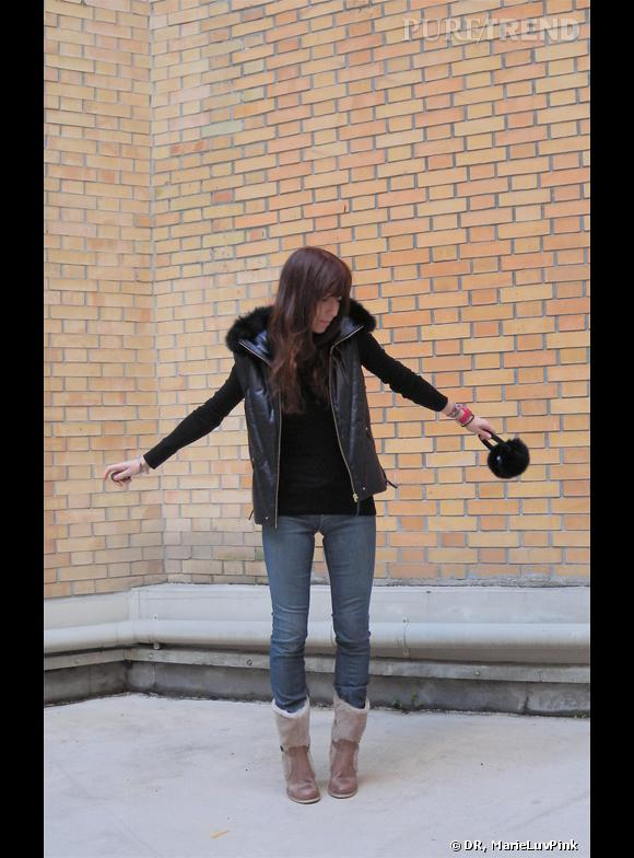 Look 1 : Une doudoune sans manches VANESSA BRUNO Soldée à -50%. Un bon basique à porter avec ma jupe en cuir et des compensées.