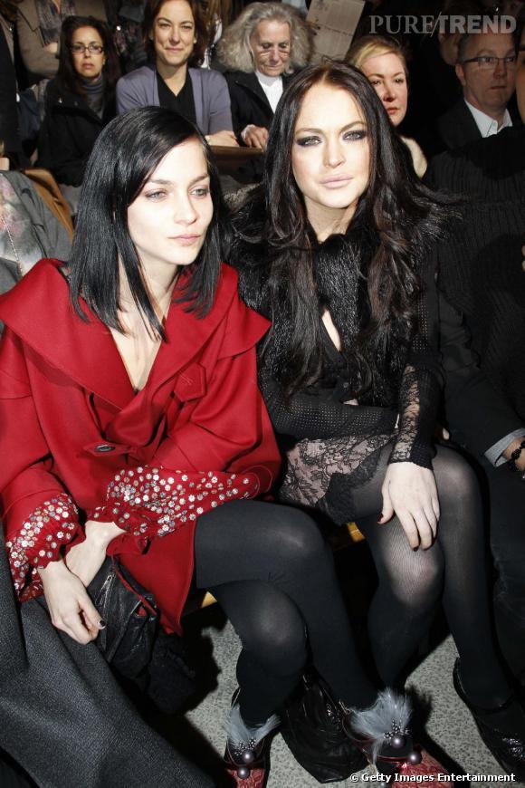 Leigh Lezark et Lindsay Lohan au défilé John Galliano