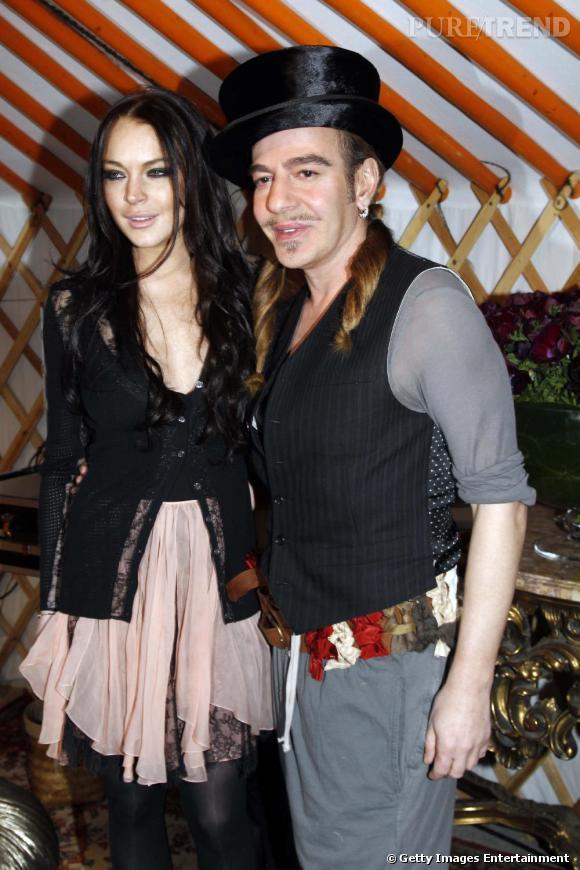 Lindsay Lohan et John Galliano au défilé John Galliano