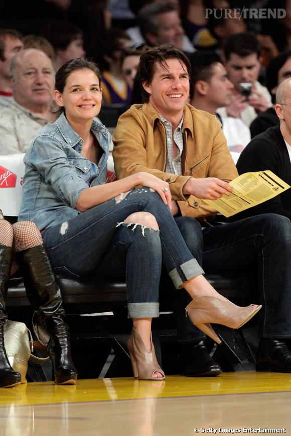 Katie Holmes à un match des Lakers à Los Angeles