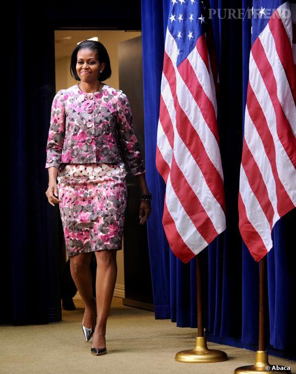 Lorsqu'elle doit faire un discours, Michelle Obama est toujours très élégante.