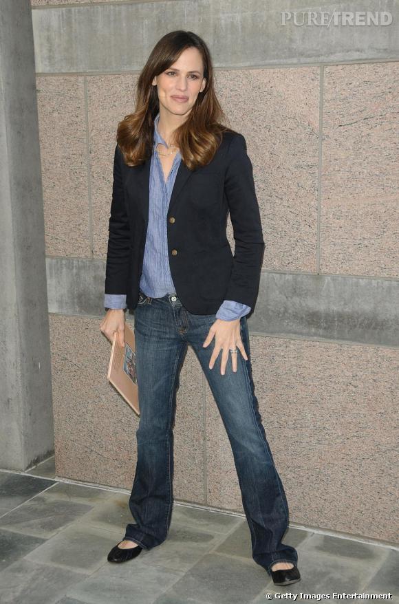 Indispensable incontournable de Jennifer Garner : le jean. Au quotidien et même lorsqu'elle est invitée, c'est la pièce fétiche de la star.