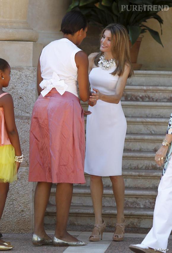 Letizia Ortiz rencontre Michelle Obama à Palma de Majorque.