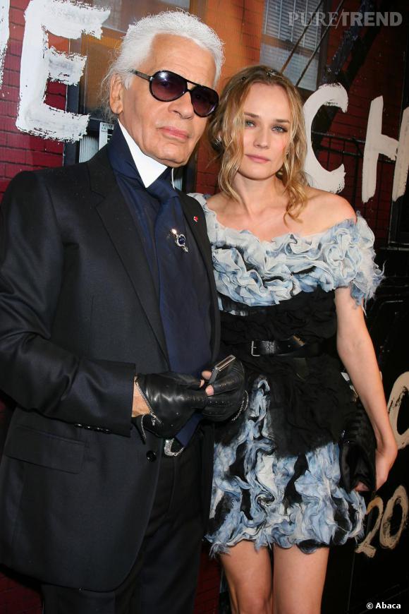 Karl Lagerfeld et Diane Kruger à la réouverture de la boutique Chanel de Soho à New-York.