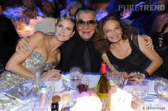 Heidi Klum, Roberto Cavalli et Diane Furstenberg au gala de l'amfAR à Milan.