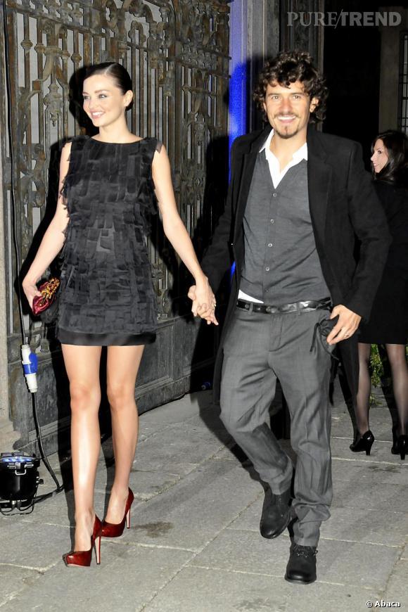 Orlando Blum et sa dulcinée, Miranda Kerr en robe Prada.