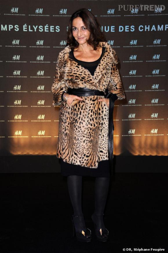 Nathalie Rykiel à l'inauguration du nouvel H&M des Champs-Elysées à Paris.