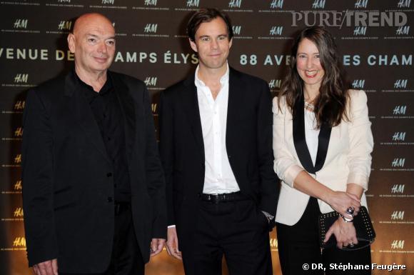 Jean Nouvel, Karl-Johan Persson, directeur général d'H&M et Ann Sofie Johansson, styliste d'H&M inaugurent le nouvel H&M des Champs-Elysées à Paris.