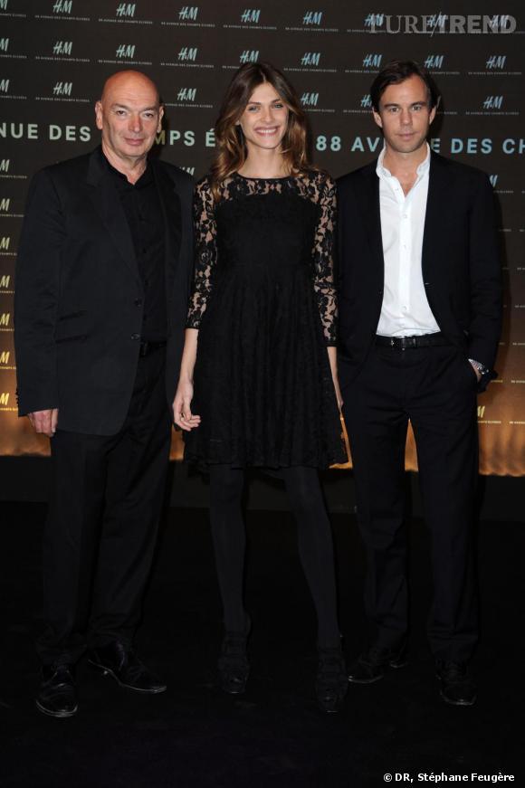 Jean Nouvel, Elisa Sednaoui et Karl-Johan Persson inaugurent le nouvel H&M des Champs-Elysées à Paris.