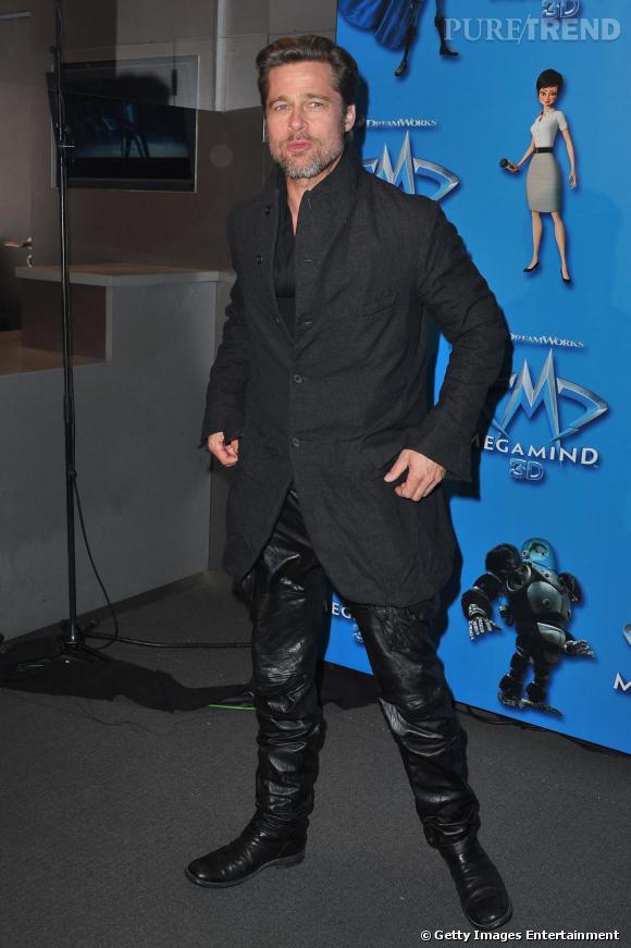 """Brad Pitt à l'avant première du dessin animé """"Megamind""""."""