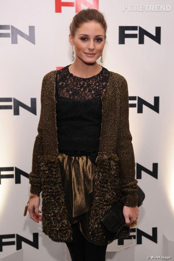 """Olivia Palermo à la cérémonie des """"Footwear News Achievement Awards"""" à New York."""