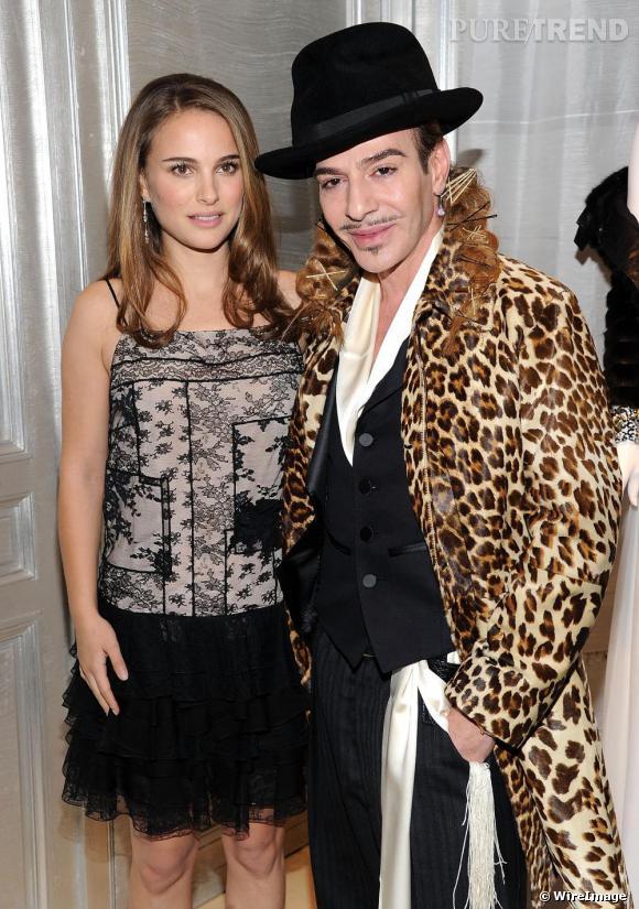 Natalie Portman et John Galliano à la réouverture de la boutique Dior sur la 57ème rue à New York.