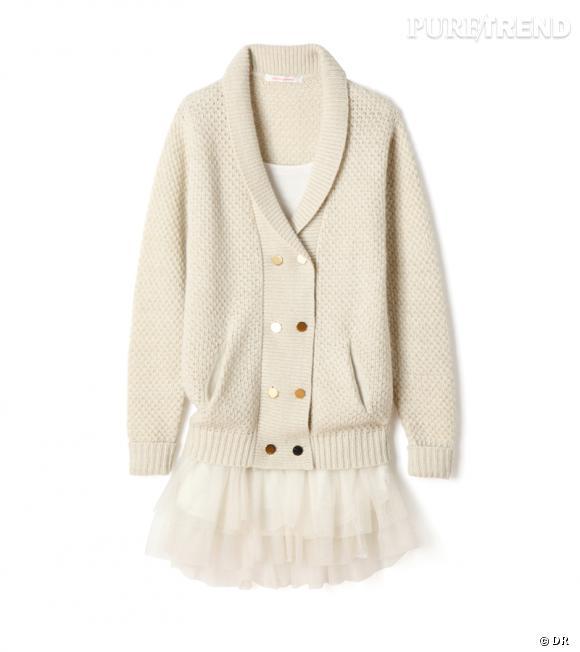 Cardigan en laine angora et robe combinette tutu Virginie Castaway, 190 € et 85 € en exclusivité aux Galeries Lafayette.