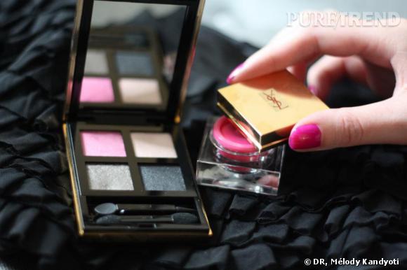 Palette d'ombres à paupières Pure Chromatics   Yves Saint Laurent  , 53€, et shorty noir à volants  Orza , 45€.