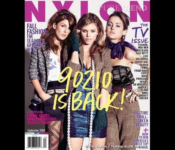 Shenae et ses collègues AnnaLynne McCord et Jessica Stroup de 90210 en couverture du magazine Nylon.