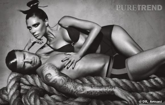 Le couple David et Victoria Beckham s'essaie aussi à la publicité sexy et huilée pour Armani.