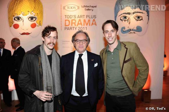 Johnny Borrell, Diego Della Valle et Will Borrell à la soirée Tod's Art Plus Drama à Londres.
