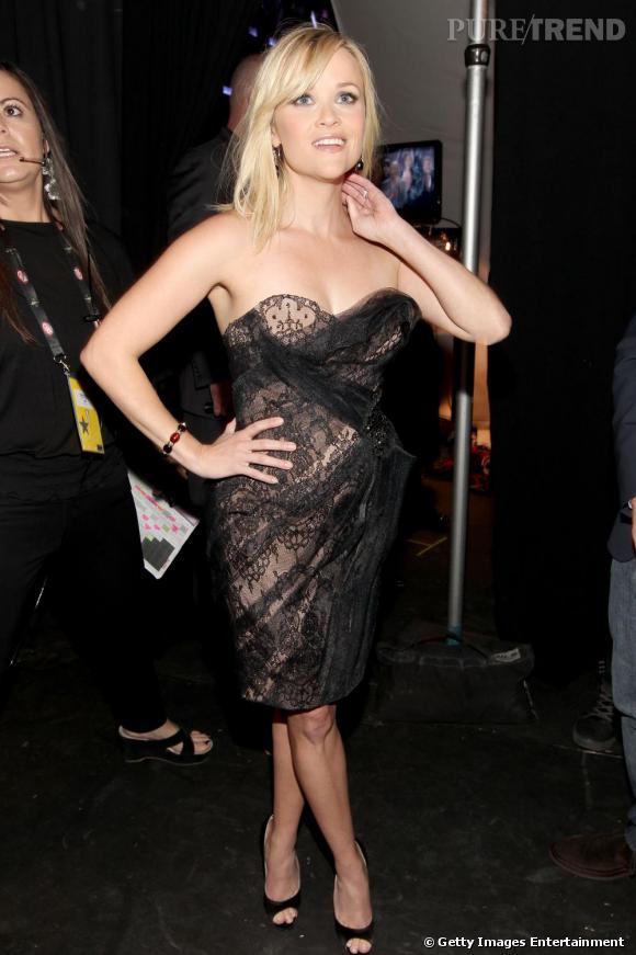 Reese Witherspoon ou le drapé sexy en Marchesa.