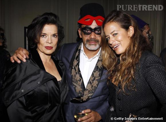 Christian Louboutin aux côtés de Bianca (à gauche) et Jade Jagger.