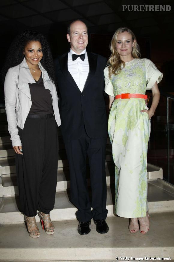 Janet Jackson aux côtés du prince Albert de Monaco et de Diane Kruger.