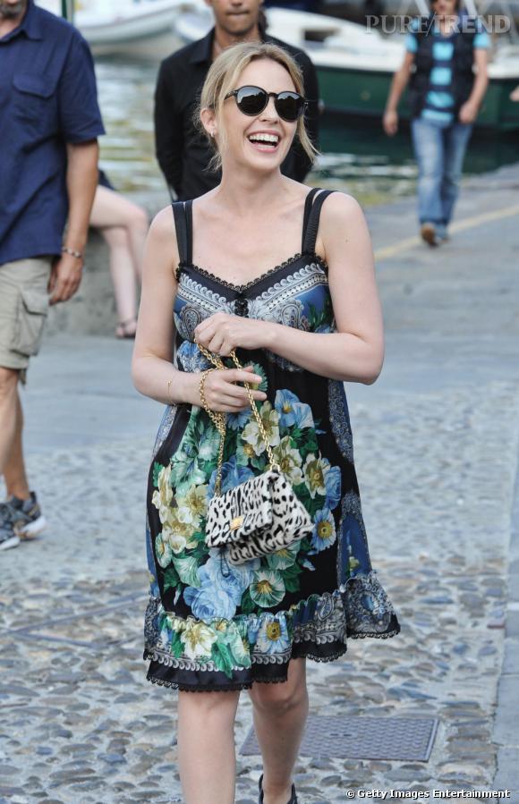 Kylie Minogue dans les rues de Portofino.