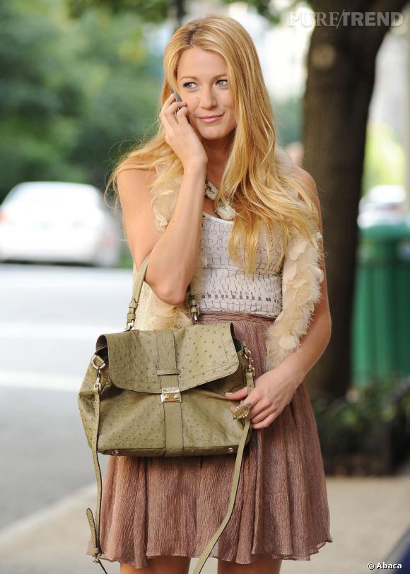 """Blake Lively sur le tournage de la saison cinq de """"Gossip Girl"""" à New York."""