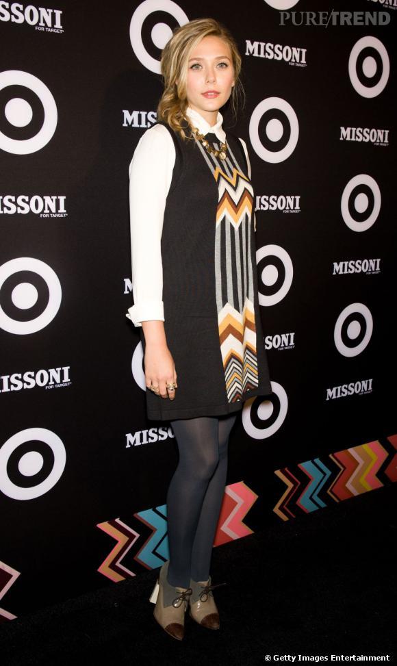 Elizabeth Olsen assure sa place dans la court des grandes avec une tenue Missoni.
