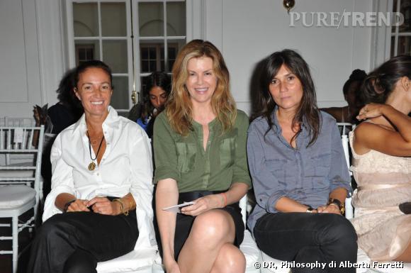 Front rows Philosophy di Alberta Ferretti : Virginie Mouzat en vert aux côtés d'Emmanuelle Alt. (A droite)
