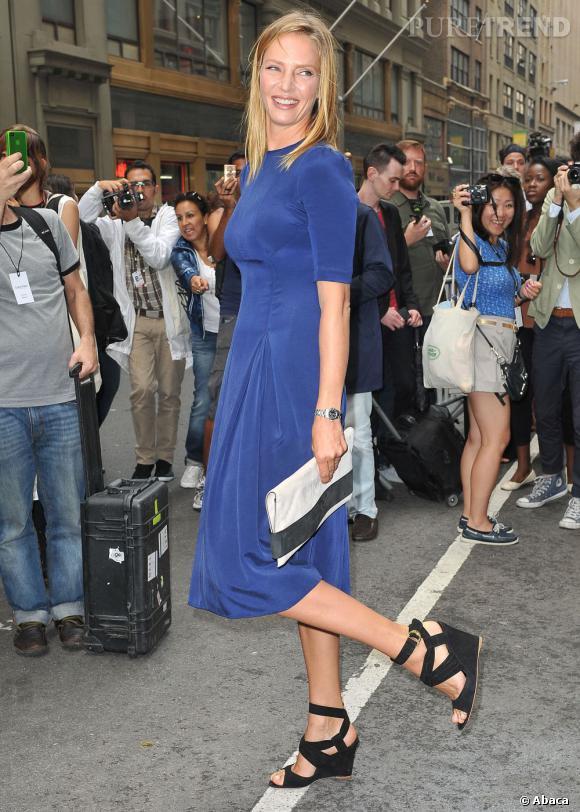 Uma Thurman au défilé Calvin Klein à New York.