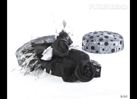 """50 chapeaux pour cet Automne-Hiver 2011/2012 !     Devant : toque en astrakan, """"JACKIE O"""", détails fleurs et plumes Maison Michel, prix sur demande.   Derrière : toque """"JACKIE O"""" en satin et dentelle, détails poids noirs, Maison Michel, prix sur demande."""
