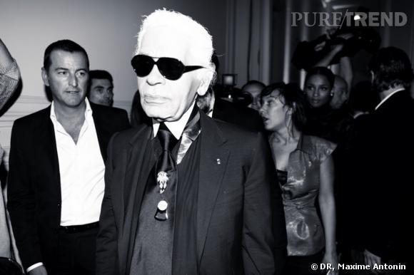 Karl Lagerfeld présente sa nouvelle collection Hogan à l'hôtel Salomon de Rothschild. Karl Lagerfeld et Ciara dans le fond.