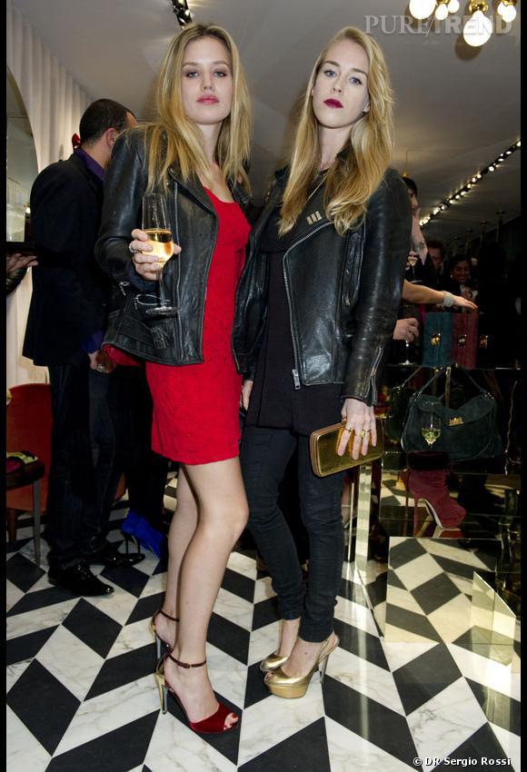 Georgia May Jagger et Mary Charteris à la soirée organisée par Sergio Rossi à Londres.