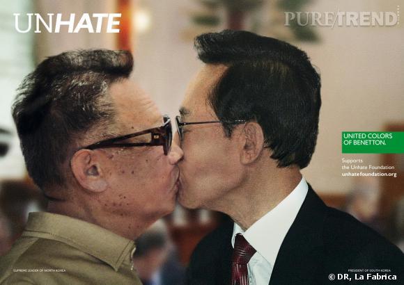 """Campagne """"Unhate"""" de Benetton.   Kim Jong-il et Lee Myung-bak"""
