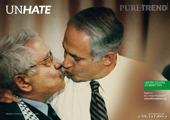 """Campagne """"Unhate"""" de Benetton.   Mahmoud Abbas et Benyamin Nétanyahou"""
