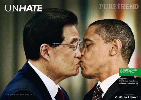 """Campagne """"Unhate"""" de Benetton.   Hu Jintao et Barack Obama"""