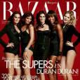 Yasmin LeBon, Helena Christensen, Cindy Crawford, Naomi Campbell et Eva Herzigova par Jonas Akerlund en couverture du Harper's Bazaar UK pour decembre 2011.