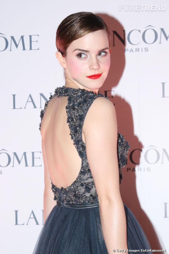 Emma Watson à la présentation Lancôme organisée à Hong Kong.