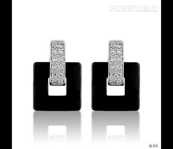 Boucles d'oreilles en céramique or blanc et diamants.