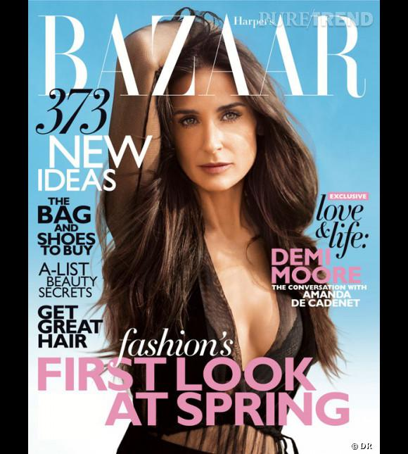 Demi Moore en couverture du Harper's Bazaar du mois de février 2012.