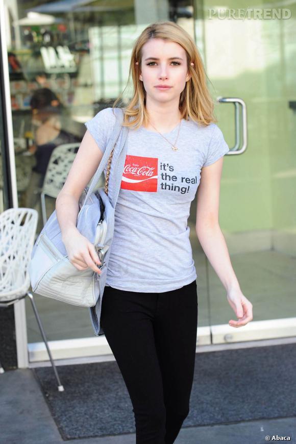 Emma Roberts à la sortie d'une salle de sport de Los Angeles.