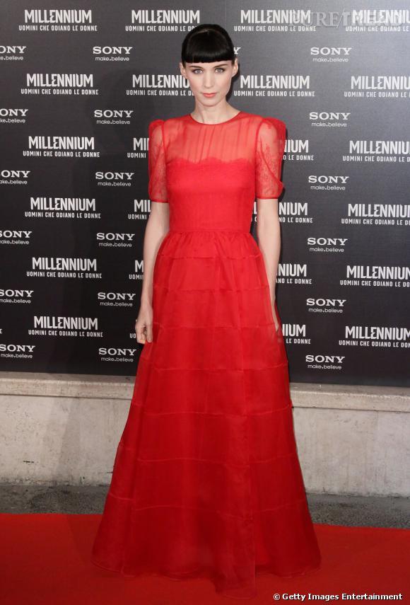 Rooney Mara, sublime sur le tapis rouge de Rome en robe Valentino.