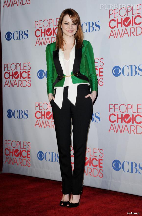 Emma Stone, un look masculin féminin à tomber par terre.