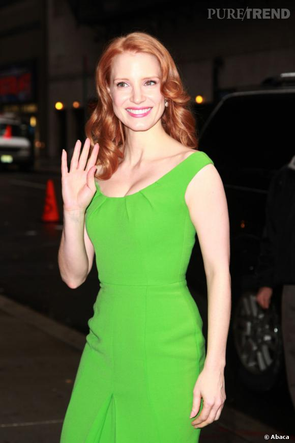 Jessica Chastain au Late Show With David Letterman à New York.