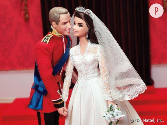 Barbie Kate Middleton et Ken William Windsor, hommage au mariage du couple.