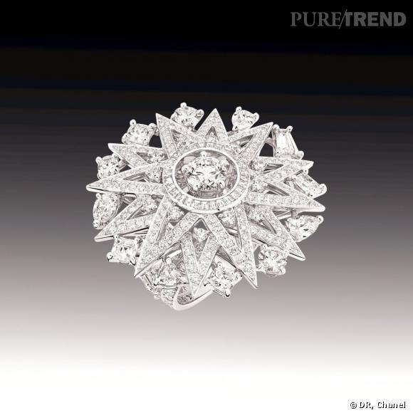 """Bague """"Cosmos"""" en or blanc 18 carats serti de 23 diamants taille fantaisie pour un poids total de 4.4 carats, de 208 diamants taille brillant pour un poids total de 2.2 carats et de 28 diamants taille carrée pour un poids total de 0.5 carat."""