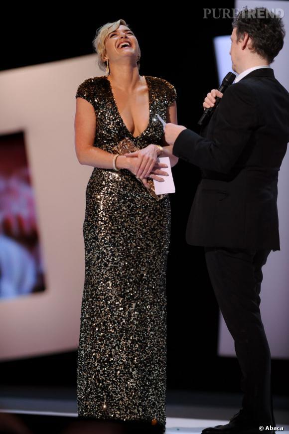 Un César d'honneur pour Kate Winslet, radieuse en Jenny Packham.