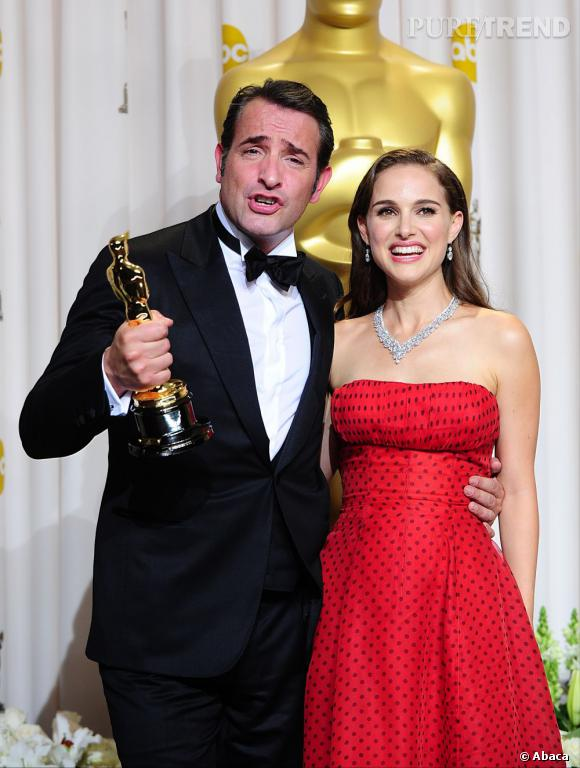 Jean Dujardin, sacré meilleur acteur au côté de Natalie Portman, meilleure actrice 2011.